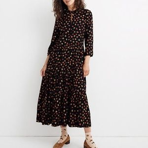 Madewell Button-Front Tier Dress in Feline Floral